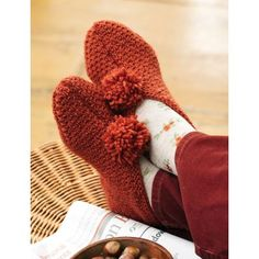 Textured Slippers - Patons - Free Pattern - Yarnspirations