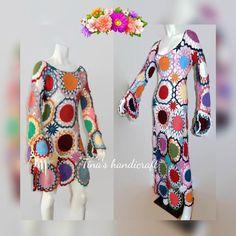 Vestido de ganchillo hippie ropa boho vestido gitano | Etsy Hippie Crochet, Gypsy Dresses, Vintage Gifts, Boho Outfits, Hippy, Vintage Dresses, Cold Shoulder Dress, Summer Dresses, Etsy