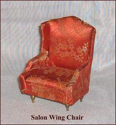 Red Color Salon Wing Chair Vintage Petite Princess Dollhouse Furniture