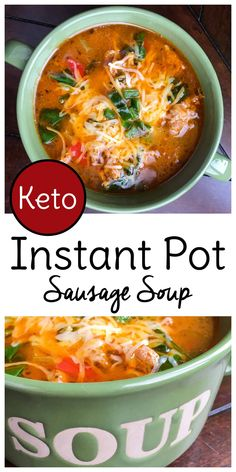 Low Carb Meals This keto Instant Pot Sausage Soup is winter comfort food at it's finest. Low carb and high flavor! - This keto Instant Pot Sausage Soup is winter comfort food at it's finest. Low carb and high flavor! Ketogenic Recipes, Low Carb Recipes, Diet Recipes, Healthy Recipes, Ketogenic Diet, Seafood Recipes, Flour Recipes, Healthy Foods, Recipies
