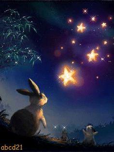 Bunnies and starlight Good Night I Love You, Good Night Gif, Good Night Sweet Dreams, Night Time, Good Night Greetings, Good Night Messages, Good Night Wishes, Beautiful Fantasy Art, Beautiful Gif