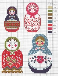 Russian Doll cross-stitch with colour chart.