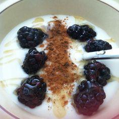 Vananna yogurt, fresh blackberries, cinnamon and a drizzle of honey.   My fave breakfast!