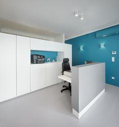 kinesitherapie praktijk te Wilrijk #blue #Dark #Prolicht #Armstrong #Dark #medical #physiotherapy #renovation #reception by architime