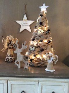 kerst decoraties van jute #christmas#burlap#
