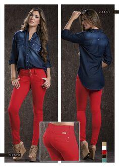 f4ebd64e7 pantalón-para-dama-color-rojo-bota-tubo- blusa-para-dama-color-azul-red-pants-for-women-blue-blouse   fashion  women  ropademoda