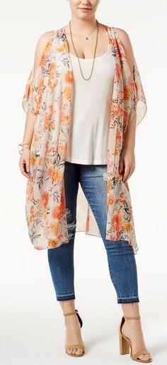 Plus Size Cold-Shoulder Kimono