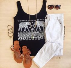 Elephant top with white jeans