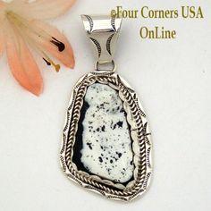 White Buffalo Turquoise Pendant Navajo Artisan Ida McCray NAP-1648 Four Corners USA OnLine Native American Jewelry