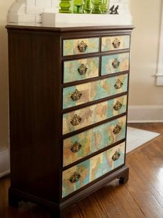Spruce up an old drawer cabinet with Decoupage