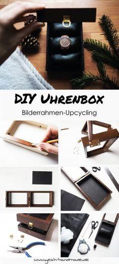 DIY Uhrenbox aus Bilderrahmen selber machen [PR Sample: Uhr von Holzkern]. Das perfekte Upcycling Projekt als Geschenkidee oder für die eigenen Accessoires. Die einfache Schritt-für-Schritt Anleitung findet ihr auf Yeah Handmade.