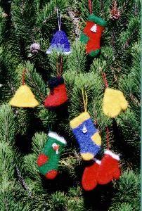 Pattern for Felt Christmas Ornaments - Fiber Trends Knitting Pattern Knitted Christmas Decorations, Felt Christmas Ornaments, Holiday Decor, Knitting Patterns, Crochet Patterns, Christmas Knitting, Knit Or Crochet, Fiber, Trends