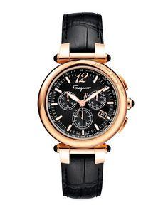 N253D Salvatore Ferragamo Croc-Embossed Chronograph Watch