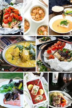 A collage of eight seafood healthy 30 Minute Meals.