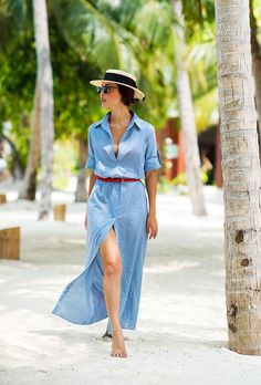 Browse the best Fourth of July outfit inspiration | Blogger Summer Street Style | @Gary Pepper Girl in straw hat, blue belted maxi shirtdress