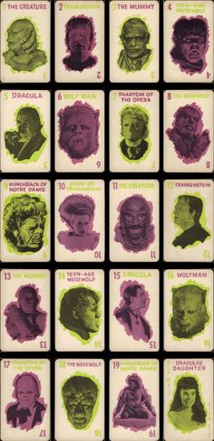 Monster Old Maid is a 1964 American card game created by the Milton Bradley Company from Springfield, Massachusetts for children aged five to ten years-old. Based on the card game … Monster Squad, Monster Mash, Monster Party, Monster Movie, Frankenstein's Monster, Halloween Trophies, American Card, Horror Monsters, Horror Films