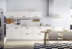 IKEA SEKTION kitchens can be completely customized, with thousands of combinations to choose from. And for do-it-yourselfers, IKEA kitchens are designed for easy setup. Ikea Kitchen Design, Farmhouse Kitchen Cabinets, Modern Farmhouse Kitchens, Home Kitchens, Kitchen Dining, Ikea Kitchens, Dining Table, Kitchen Decor, Classic White Kitchen