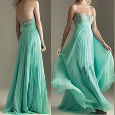 Mint Green Long Prom Dresses with Low Back