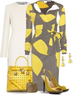 """Taupe, Yellow & White"" by yasminasdream ❤ liked on Polyvore"