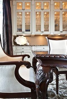 Hmmm.  Built-ins in the formal dining room?  Perhaps I could get my crystal wine glasses out of their boxes!