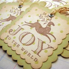 DIY Christmas Gift Tags. Show them how to distress edges and add the eyelet and string.