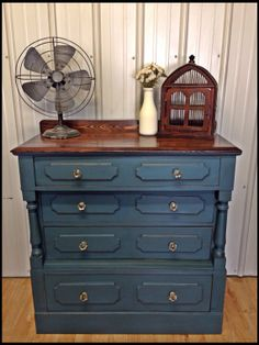Beautiful Refinished Antique Buffet by ThreeFreckles on Etsy, $250.00 Aubusson Blue