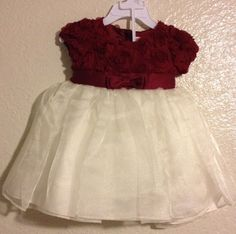 Nannette Baby Christmas Party Dress 12 Month Maroon Red Cream Floral Bloomers #Nannette #Holiday
