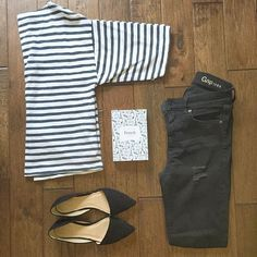 french style: stripes + black flats