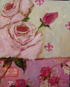 pink roses and fleur de lis art painting interior design home decor
