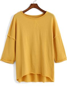 Yellow Round Neck Loose Dip Hem T-Shirt