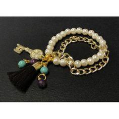 Pulsera de Moda con Perlas, Cadena de Aluminio y Llave de San Benito