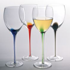 Add a pop of color to your barware with this Artland Splash Wine Glass - Set of 4 . These handcrafted wine glasses each feature a splash of brilliant. Colored Wine Glasses, White Wine Glasses, Shot Glasses, Margarita Glasses, Wine Glass Set, Wine Time, Hand Blown Glass, Drinkware, Barware