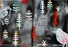 Art Journal page using the stencils and masks as well as the two sides of the foam stamp in the set.