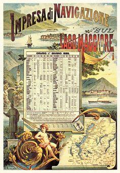 Lago Maggiore: Impresa di Navigazione sul Lago Maggiore  - Calendario con orari dei battelli a vapore della Navigazione del Lago Maggiore - Calendario dal 1 giugno 1885