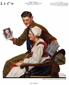 """""""My Mother"""" 12/19/1918 aka. """"Soldier With French Woman """" by Norman Rockwell for Life Magazine, cover"""