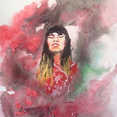 Sale // Watercolor painting // Smokey portrait
