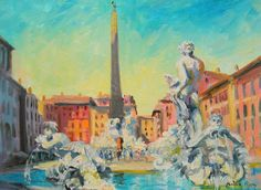 Original Impressionist Painting of Piazza Navona Rome by Listed American  #Impressionism