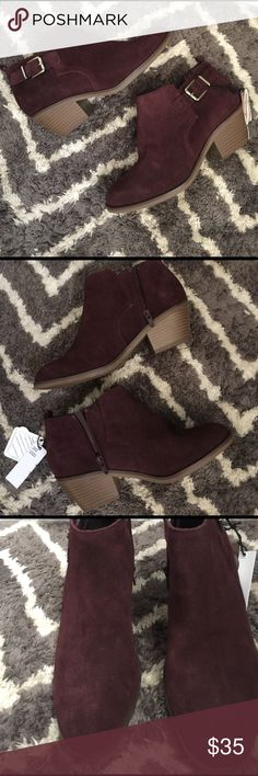 """NWT Wine booties Beautiful wine colored booties - never worn, only tried on - scotch guard protected - zipper on the inside to easily slide your foot in and out of the boot - size 8 - approx 2"""" inch heel Shoes Ankle Boots & Booties"""