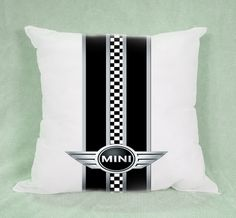 Mini Cooper Pepper Black White Checkers Pillow by DreamsPillow, $15.99