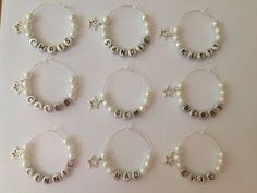 Personalised Wine Glass Charms, Weddings, Favours, Hen Party, Celebrations