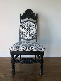 Upcycled Black Damask Upholstered Chair by LeHomeBrooklyn on Etsy, (sold)