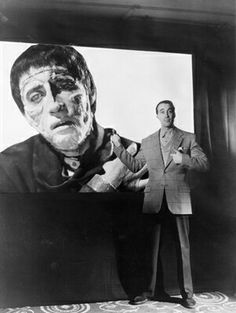 """Christopher Lee impressed with himself as The Creature in""""The Curse of Frankenstein"""", 1957"""