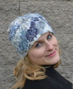 Купить Валяная шапочка Балтика - шапочка, стильный аксессуар, подарок женщине, модный аксессуар