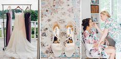 Purple bridesmaids dresses, bridesmaids robes | Pronovias wedding dress | Bröllop i Vaxholm | Wedding Archipelago Stockholm
