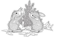 Stampendous - Cling Mounted Rubber Stamp - House Mouse Happy Hopper Bunny Tree