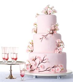 cake :) wedding cake with sakura or cherry blossoms