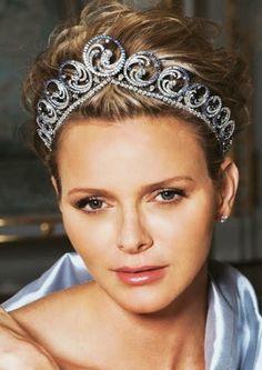 Princess Charlène, Princess consort of Albert II, Prince of Monaco, wearing the Ocean Tiara, Monaco (2011; made by Van Cleef & Arpels; sapphires, diamonds). www.hellomagazine.com.