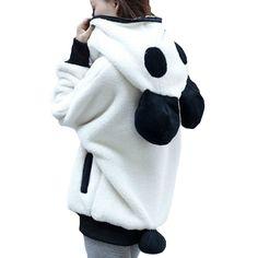 Inverno 2016 coreano inverno bonito Zipper Panda manga Batwing pelúcia estudantes do sexo feminino Outwear Hoodies Plus size frete grátis