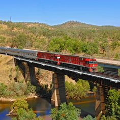 The Ghan Train passing through the Outback