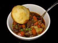 Vegetable Beef Soup (Gluten-Free)- modifications: used 3 cartons vegetable broth, more beef, carrots, potatoes, added sweet potatoes, no sugar, no red wine or peas.